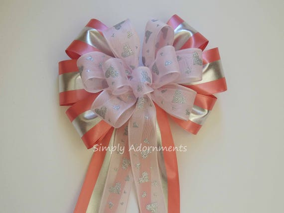 Pink Silver Valentine Heart Wreath Bow Pink Glitter Silver Heart Bow Pink Silver Valentine Wreath Bow Silver Pink Party Decor Valentine Bow