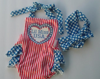 Custom Patriotic, 4th of July red, white, blue Ruffle Infant Girl Baby Romper