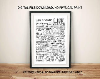 This is your life, holstee manifesto, motivation quote, quote on life, quote of the day, motivational print, motivational quote, home decor