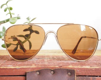 Vintage Aviator Sunglasses 1970's New Old Stock By Foster Grant Made in Taiwan Great lens color BY Foster Grant Brown Lens