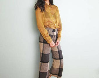 90s shirt - 90s sheer top - gold mustard yellow shirt - long sleeve sheer blouse - collared long sleeve - 90s clothing - 90s minimalist S M