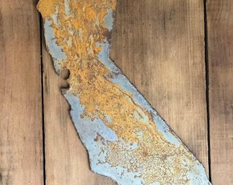 "California - 6"" Rusty, Rustic Metal CALIFORNIA State! Make your own Sign, Gift, Art!"