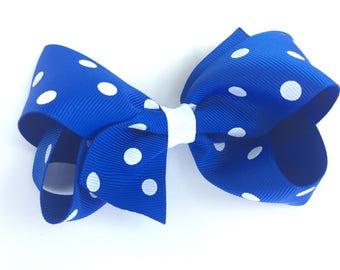 Royal blue polka dot hair bow - hair bows, girls hair bows, toddler hair bows, girls bows, baby bows, blue bow, boutique bows, big bows
