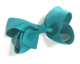 Jade hair bow - teal bow, hair bows, girls bows, toddler bows, baby bows, boutique bows, girls hair bows, toddler hair bows, pigtail bows