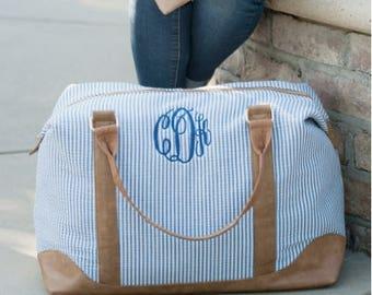 Monogrammed Weekender Bag, Personalized Travel Bag, Seersucker Bag, Convertible Bag, Carry All Bag, Duffel Bag, Monogram Overnight Bag
