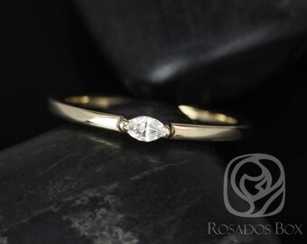 Rosados Box DJ 14kt Yellow Gold Marquise Diamond Extra Low Thin Skinny Ring