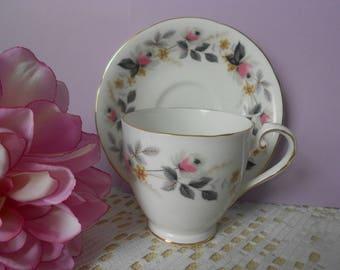 "Tea cup and saucer English Bone China vintage with pink rose pattern "" Royal Crafton"" bone china"