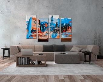 Coney Island New York graffiti canvas photo 4 panels art work design