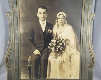 Large Vintage Bride & Groom Photo in Folder Circa 1920