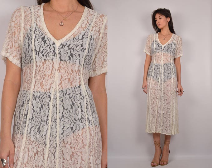 Vintage White Lace Midi Dress