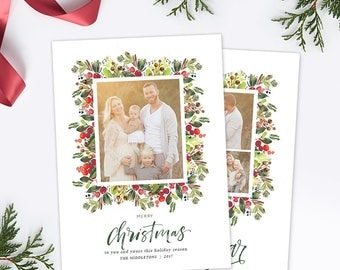 Christmas Card Template, Christmas Photo Card, Christmas Photography Template, Christmas Card Printable, Holiday Photo Cards HC312