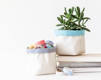 Houseplant Planter Canvas Plant Holder / Desk Organizer Desk Decor / Gift for Gardener