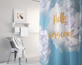 teal and gold shower curtain. Teal and gold shower curtain  long teal decor peony Etsy