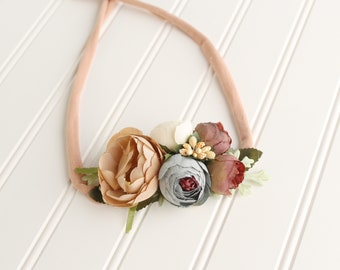 Country Road - darling floral crown tieback in beige, nude, burgundy, mauve, dusty blue, cream, blush and buttercream  (RTS)