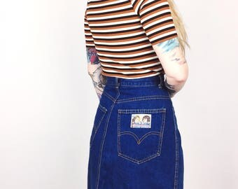 RARE 1970's Vintage Levi's The Owners Favorite Pair Denim Blue Jean Midi Skirt // Women's size Small S 27 6 7