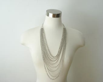 Vintage Statement Necklace Multi Layered Graduated Silver Necklace - 9 Chains -  Retro Jewelry 1960s