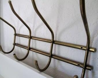 Vintage Brass Coat/Hat Wall Rack