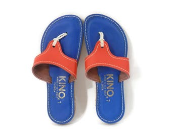 70s Key West Sandals  Orange and Blue with Rope Thongs by Kino sz 7 Vintage Florida