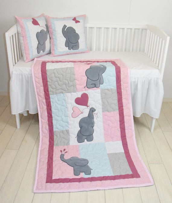 Pink Baby Quilt,  Elephant Blanket, Pink Gray Blue Crib Bedding, Safari Nursery