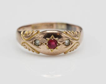 1894 Victorian 9ct Rose Gold Vintage Gypsy Ring set with Paste Round Stones    Size UK Q 1/2  US 8 1/2