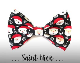 Santa Dog Bow Tie; Christmas Dog Collar Bow Tie: Saint Nick