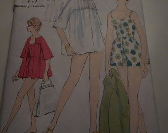 Vintage 1960's Vogue 9737 Bathing Suit and Beach Coat Sewing Pattern, Size 14 Bust 34