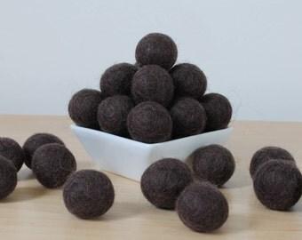 Felt Balls: DARK BROWN, Felted Balls, DIY Garland Kit, Wool Felt Balls, Felt Pom Pom, Handmade Felt Balls, Brown Felt Balls, Brown Pom Poms