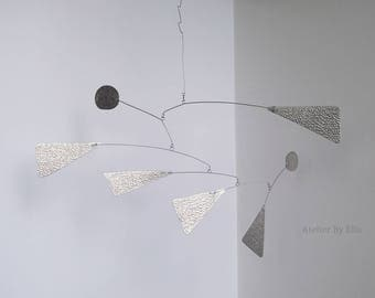 Abstract mobile, Silver mobile with two dots, Hanging mobile, Metal mobile with pattern