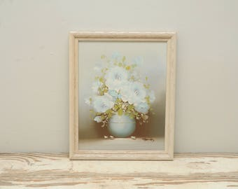 Vintage Painting Roses White Blue
