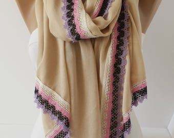 Ivory beige Scarf Lace Scarf Women's Fashion Accessories gift for her
