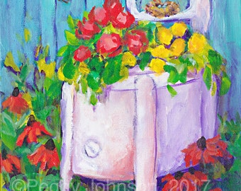 garden flowers old washer  bird  nest vibrant painting impressionistic peggy johnson everygoodcolor