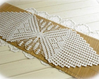 Crochet table runner White crochet runner Lace runner Crochet tablecloth Table decorations Cotton decor 383