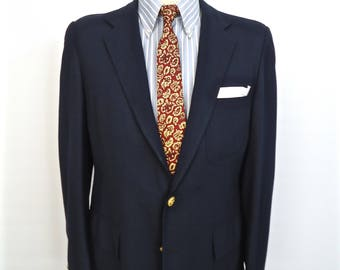 1960s Saks Fifth Avenue Navy Blue Blazer with Gold Buttons / vintage sixties hopsack suit jacket, sport coat / men's large