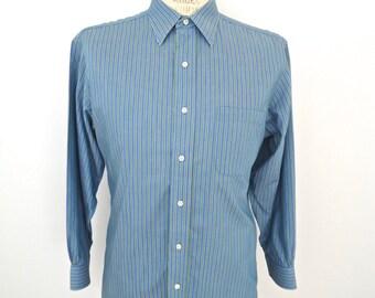 Brooks Brothers Stripe Twill Dress Shirt // vintage blue & green button-down / men's small-medium