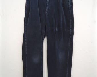 19990s Ralph Lauren Blue Corduroy Pants / vintage Polo gray-sh blue pleated trousers / men's medium 33/32