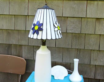 Vintage Stained Glass Flower Shade Mid Century Light