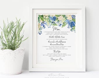 Floral Watercolor Mom Gift from Daughter, Mother's Day, Personalized Bird's Nest Poem 8x10 inch Wall Art Print, Home Decor UNFRAMED