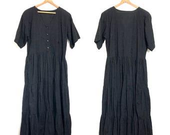 MINIMALIST Vintage 90s Dress Black Revial Festival Dress Boho Hippie 80s Dress Tent Dress Grunge Dress Large Coton Goth Wiccan Large XL