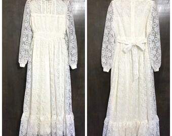 Vintage Gunne Sax Dress White Vintage Dress Wedding Dress Ivory 60s 70s Hippie Wedding Dress White Lace Dress Boho Wedding Dress Country B1