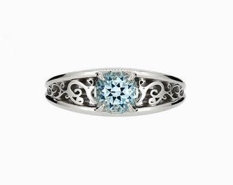 Aquamarine filigree ring, engagement ring, solitaire, white gold, light blue engagement ring, unique, aquamarine wedding, lace ring, blue