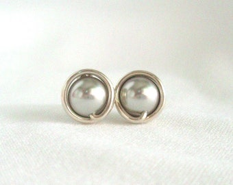 Light Gray Pearl Stud Earrings, Hypoallergenic, Grey Studs, Wire Wrapped Earrings Handmade, Swarovski
