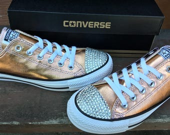 Rose Gold Converse Low Top Blush Pink Metallic GlassSlipper w/ Swarovski Crystal Wedding Chuck Taylor Rhinestone Bling All Star Sneaker Shoe