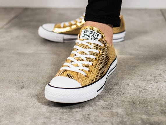 Gold Converse Low Top Leather Snakeskin Kicks w/ Swarovski Crystal Rhinestone Bling Chuck Taylor All Star Ladies Bridal Wedding Sneaker Shoe