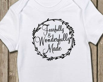 Christian Onesie, Fearfully Made, Wonderfully Made, Christian Baby, Jesus Onesie, Baptism Gift, Pregnancy Reveal, Baby Shower Gift