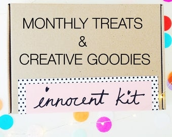 INNOCENT KIT Monthly Box Filled with Creative Goodies, Embroidery Kits & Gorgeous Stationary -  Subscription club craft lovers - mature