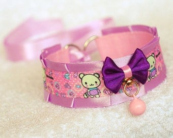 Candy Bear - collar for pet play, age play, kitten play, abdl, ddlg, bdsm, lolita