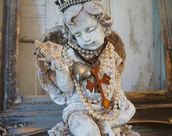 Cherub angel w/ bird statue French Santos inspired handmade crown adorned angelic figure shabby cottage chic home decor Anita Spero Design