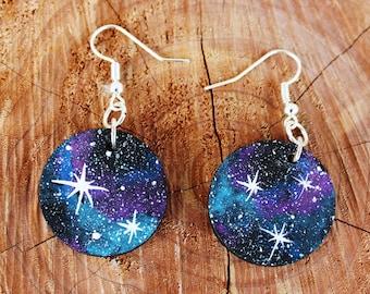 galaxy earrings - lightweight wooden painted earrings - wood slice earrings - cosmic earrings - boho jewelry - boho earrings