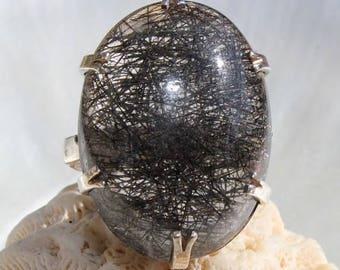 Black tourmaline rutilated quartz stone and silver ring