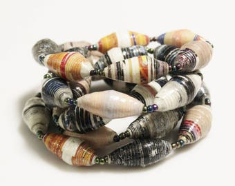 30 African Rolled Paper Beads, Recycled Beads made in Uganda, Ethnic Jewelry Supplies  (AL75)